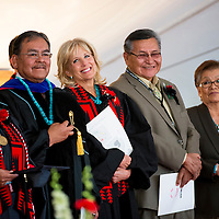 051713       Brian Leddy<br /> Jill Biden, wife of Vice President Joe Biden, smiles while standing next to Navajo Nation President Ben Shelly Friday in Crownpoint. Biden was the featured speaker at commencement ceremonies this year.