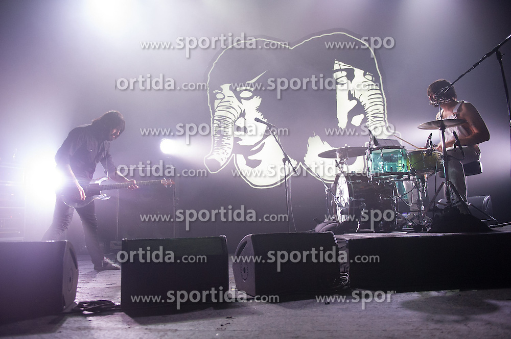 Bassist Jesse F. Keeler (L) and drummer/vocalist Sebastien Grainger(R) of Toronto duo Death From Above 1979 performing at Brixton Academy, London, England, UK on Wednesday 25th February 2015. EXPA Pictures &copy; 2015, PhotoCredit: EXPA/ Photoshot/ Justin Ng<br /> <br /> *****ATTENTION - for AUT, SLO, CRO, SRB, BIH, MAZ only*****