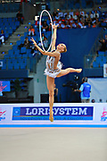 "Kudryavtseva Yana of Russia  during final at hoop in Pesaro World Cup at Adriatic Arena on April 12, 2015, Italy. Yana ""The Queen"" is a Russian gymnast born in Moscow on September 30, 1997. Until her retirement in 2017 was one of atllete most awarded in the history of rhythmic gymnastics."