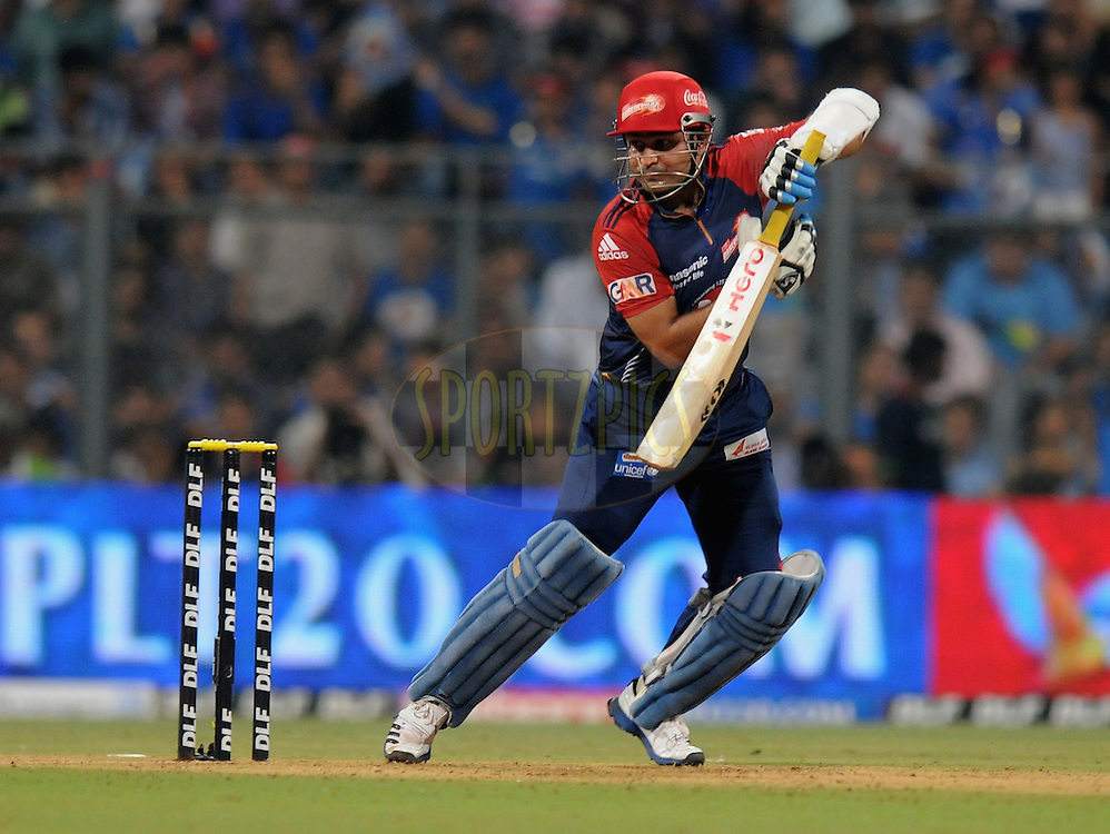 Virender Sehwag captain of Delhi Daredevils bats during match 19 of the Indian Premier League ( IPL) 2012  between The Mumbai Indians and the Delhi Daredevils held at the Wankhede Stadium in Mumbai on the 16th April 2012..Photo by Pal Pillai/IPL/SPORTZPICS..
