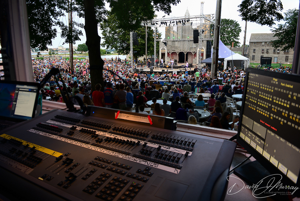 The view from the control board as The Head and the Heart performs in a Prescott Park Arts Festival presentation at Prescott Park in Portsmouth, NH, in July 2013