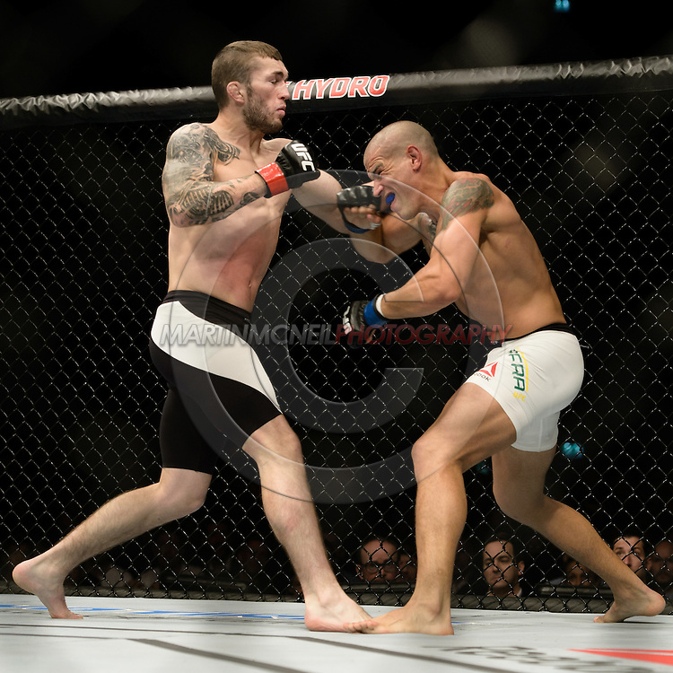 GLASGOW, SCOTLAND, JULY 18, 2015: Stevie Ray (black shorts with white stripe) defeats Leonardo Mafra by TKO during UFC Fight Night 72 inside the SSE Hydro Arena in Glasgow. (Martin McNeil for ESPN)