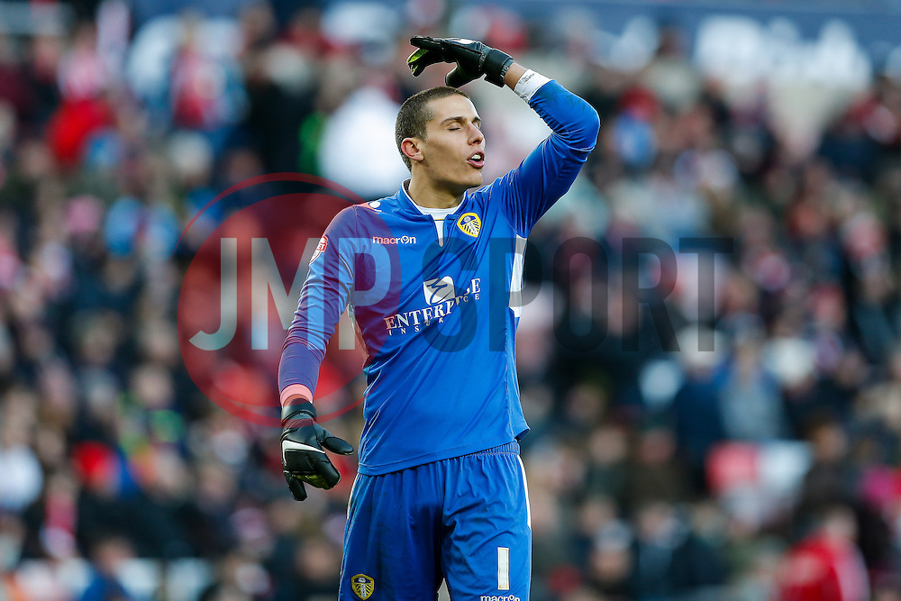 Marco Silvestri of Leeds United reacts after his side nearly score with a header hitting the post at the end of the game - Photo mandatory by-line: Rogan Thomson/JMP - 07966 386802 - 04/01/2015 - SPORT - FOOTBALL - Sunderland, England - Stadium of Light - Sunderland v Leeds United - FA Cup Third Round Proper.