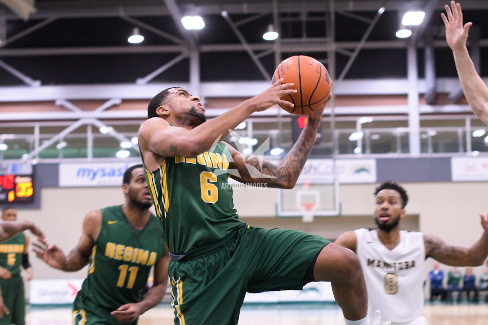 5th year guard Matthew Augustine (6) of the Regina Cougars in action during the home game on January  14 at Centre for Kinesiology, Health and Sport. Credit: /Arthur Images
