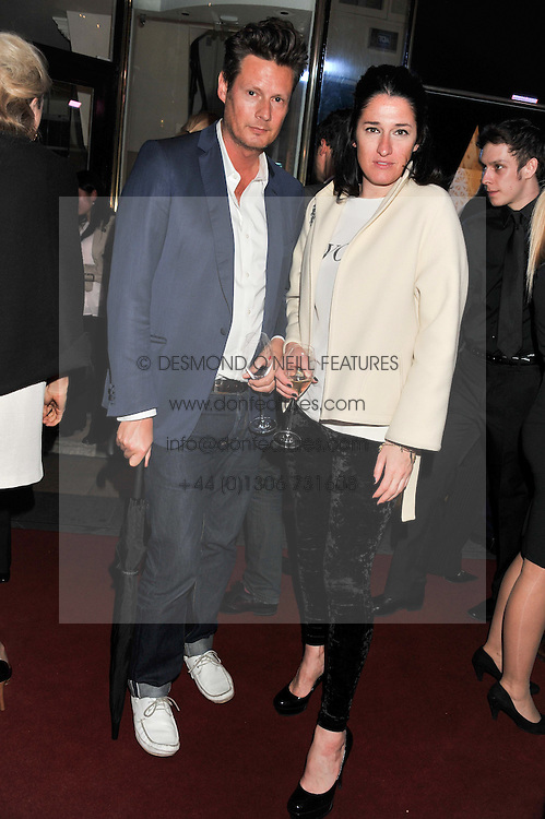 PERCY GIBSON and AMY MOLYNEAUX at a party to celebrate the opening of luxury jewellers Nourbel & Le Cavelier first boutique in London in Burlington Arcade, London on 14th June 2012.