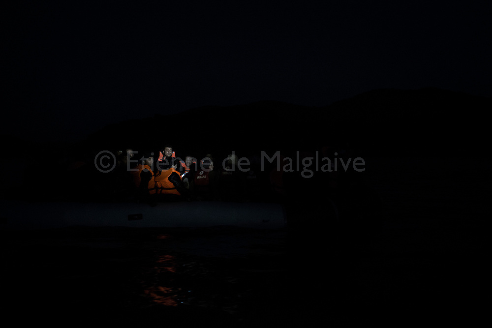Refugees from Afghanistan and Syria arrive at night on inflatable boats to the northern shores of Lesbos near Skala Sikaminias, Greece on 05<br /> November, 2015. Lesbos, the Greek vacation island in the Aegean Sea between Turkey and Greece, faces massive refugee flows from the Middle East countries.