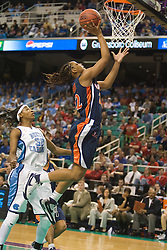 Virginia guard Monica Wright (22) beats North Carolina guard/forward Rashanda McCants (32) to the hoop.  The #4 seed/#25 ranked Virginia Cavaliers women's basketball team fell to the #1 seed/#2 ranked North Carolina Tar Heels 80-65 in the semifinals of the 2008 ACC Women's Basketball Tournament at the Greensboro Coliseum in Greensboro, NC on March 8, 2008.