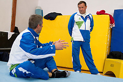 Farewell of Slovenian athlete Aljaz Pegan and his coach Joze Mesl at his last competition in his sports career during Slovenian Gymastics Cup 2013 on June 2, 2013 in GIB arena, Ljubljana, Slovenia. (Photo By Vid Ponikvar / Sportida)