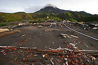 Foundations of a house damaged in an eruption at the foot of Gunung Merapi, Kinahrejo, Java, Indonesia.