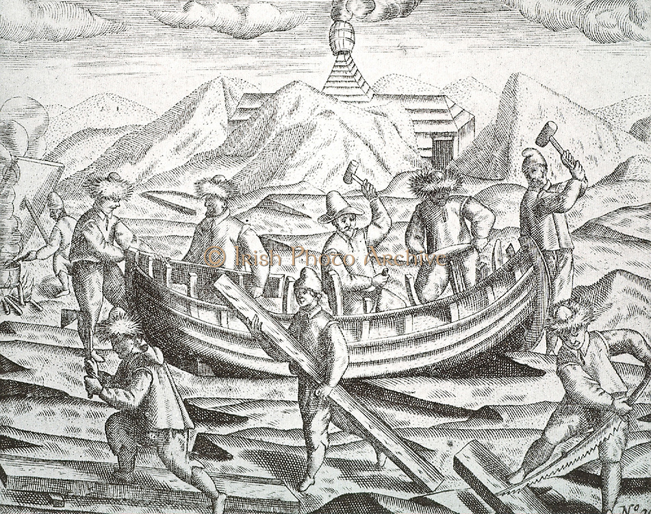 Illustration depicting Dutch explorer William Barents on his expedition to New Zembla.  A group of carpenters is shown repairing a small boat during the expedition of 1596-7.Nova Zembla Island ('New Land') is an uninhabited island in the Qikiqtaaluk Region of Nunavut, Canada. It is located in Baffin Bay off the north-eastern coast of Baffin Island.