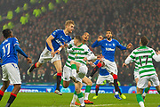 Filip Helander of Rangers FC manages to get his header away but rises over the bar during the Betfred Scottish League Cup Final match between Rangers and Celtic at Hampden Park, Glasgow, United Kingdom on 8 December 2019.