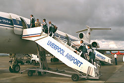 LIVERPOOL, ENGLAND - Monday, September 11, 1995: Liverpool players board the Aeroflot Tupolev Tu-154 RA-85715 aircraft at Liverpool Airport before the squad travel to Russia ahead of the UEFA Cup 1st Round 1st Leg match against FC Alania Spartak Vladikavkaz. (Photo by David Rawcliffe/Propaganda)