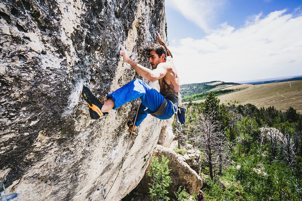 Sam Elias feels the beat on his redpoint of Cow Raggae, 5.13b, Wild Iris, Wyoming.