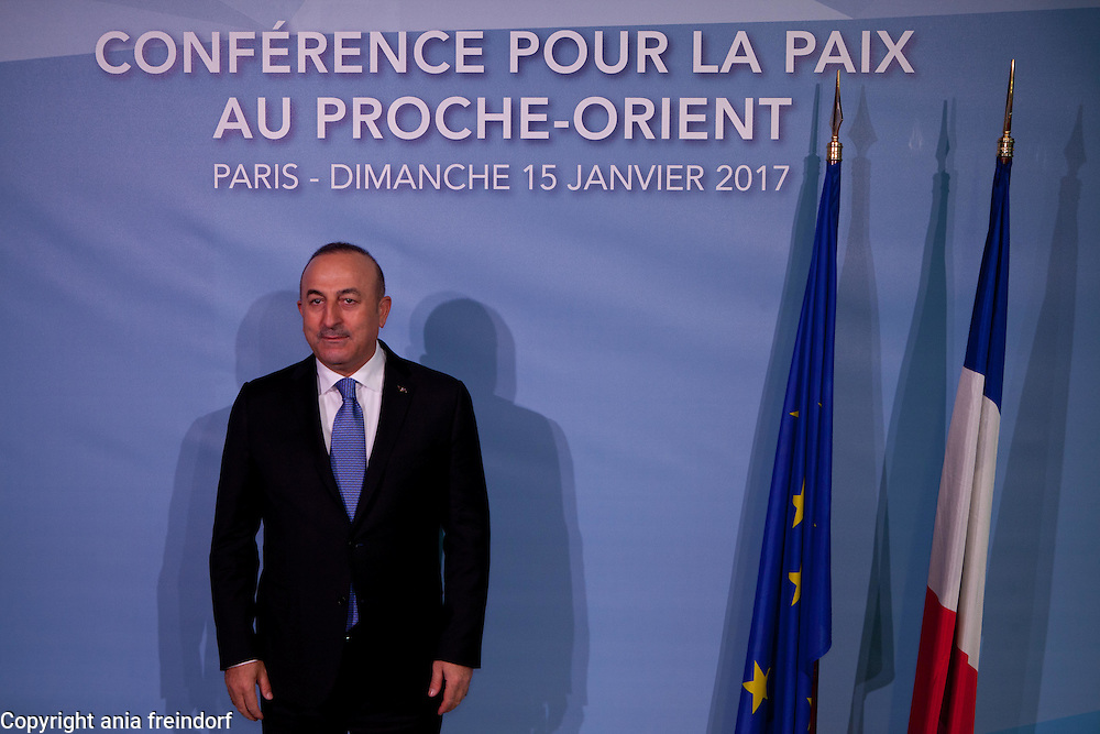Middle East Peace Conference, Paris, France. International summit. 7O countries have participated in the summit. Turkish Foreign Minister Mevlut Cavusoglu