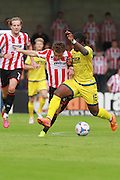 Jack Munns and Courtney Richards during the Vanarama National League match between Torquay United and Cheltenham Town at Plainmoor, Torquay, England on 29 August 2015. Photo by Antony Thompson.