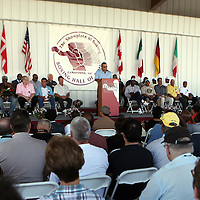 Emcee Joey Fiato speaks during the 23rd Annual induction weekend opening ceremony at the International Boxing Hall of Fame on Thursday, June 7, 2012 in Canastota, NY. (AP Photo/Alex Menendez)