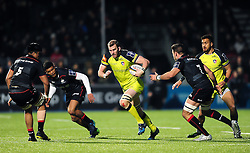 Tom Croft of Leicester Tigers in possession - Mandatory byline: Patrick Khachfe/JMP - 07966 386802 - 05/02/2017 - RUGBY UNION - Allianz Park - London, England - Saracens v Leicester Tigers - Anglo-Welsh Cup.