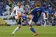 Bolton Wanderers striker Gary Madine (14) takes on Birmingham City defender Ryan Shotton (5) 0-0 during the EFL Sky Bet Championship match between Birmingham City and Bolton Wanderers at St Andrews, Birmingham, England on 15 August 2017. Photo by Alan Franklin.