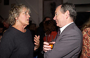 Germaine Greer and Simon Jenkins, 1812 Napoleon's Fatal March on Moscow by Adam Zamoyski book launch. Avenue Studios. Fulham Rd. 5 April 2004. ONE TIME USE ONLY - DO NOT ARCHIVE  © Copyright Photograph by Dafydd Jones 66 Stockwell Park Rd. London SW9 0DA Tel 020 7733 0108 www.dafjones.com