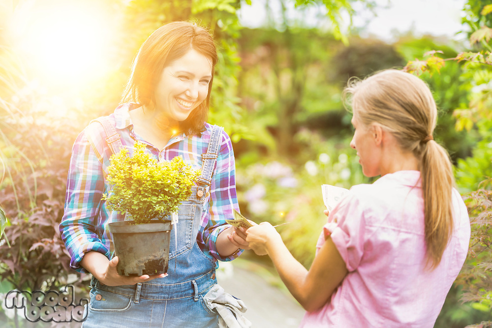 Woman buying plants and giving cash payment to owner