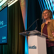 Visit Seattle Annual Meeting 2018. VP of Convention Sales, Kelly Sailing. Photo by Alabastro Photography.