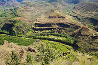 Looking down into the Southern end of Waimea Canyon, Kauai, Hawaii, USA.