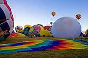 Balloons prepare for the mass ascension at the Albuquerque International Balloon Fiesta