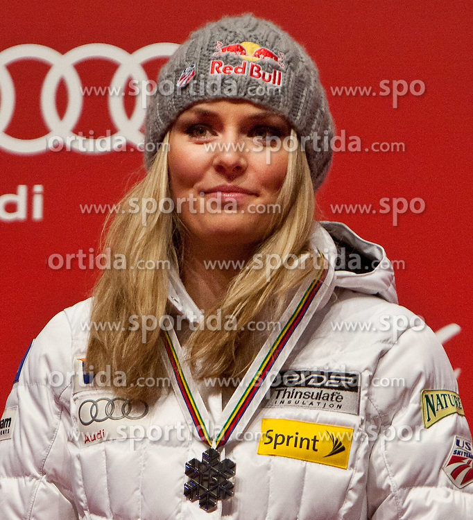 13.02.2011, Medal Placa, Garmisch Partenkirchen, GER, FIS Alpin Ski WM 2011, GAP, Damen, Abfahrt, Winners Presentation, im Bild zweite, silber Medaille, Lindsey Vonn (USA) // second, siver Medal Lindsey Vonn (USA) during Downhill Ladies Winners Presentation Fis Alpine Ski World Championships in Garmisch Partenkirchen, Germany on 13/2/2011. EXPA Pictures © 2011, PhotoCredit: EXPA/ J. Groder