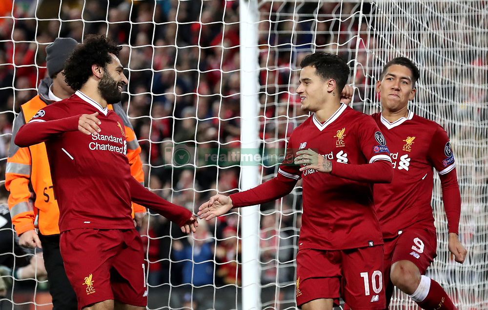 Liverpool's Philippe Coutinho celebrates scoring his side's fifth goal of the game