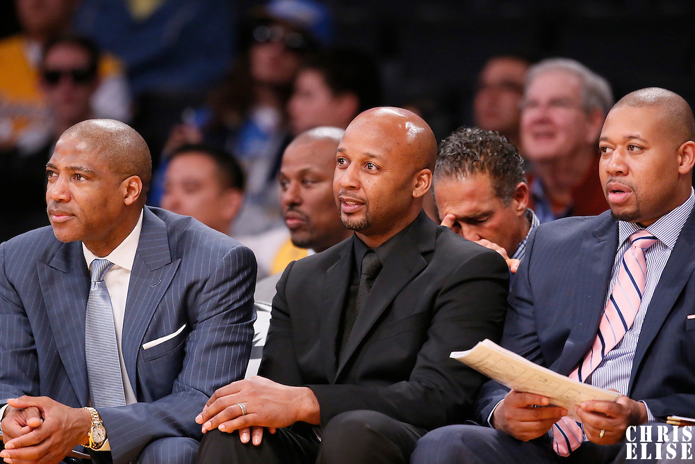05 January 2014: Lester Conner, Assistant Coach, Denver Nuggets head coach Brian Shaw, and Melvin Hunt, Assistant Coach, are seen during the Denver Nuggets 137-115 victory over the Los Angeles Lakers at the Staples Center, Los Angeles, California, USA.