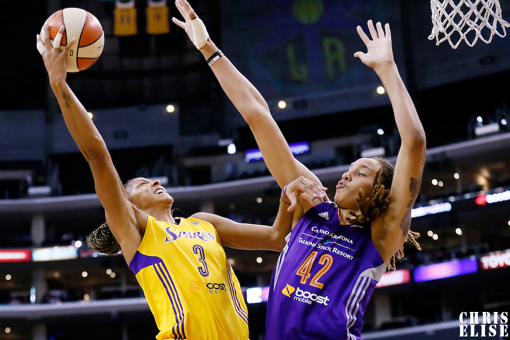 24 July 2014: Los Angeles Sparks forward/center Candace Parker (3) goes for the layup over Phoenix Mercury center Brittney Griner (42) during the Phoenix Mercury 93-73 victory over the Los Angeles Sparks, at the Staples Center, Los Angeles, California, USA.
