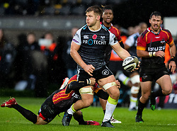 Olly Cracknell of Ospreys under pressure from Sarel Pretorius of Southern Kings<br /> <br /> Photographer Simon King/Replay Images<br /> <br /> Guinness PRO14 Round 6 - Ospreys v Southern Kings - Saturday 9th November 2019 - Liberty Stadium - Swansea<br /> <br /> World Copyright © Replay Images . All rights reserved. info@replayimages.co.uk - http://replayimages.co.uk