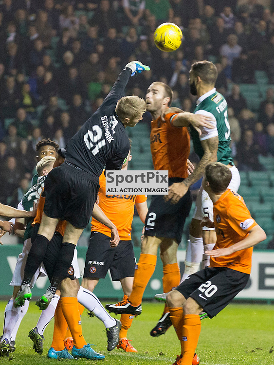 Hibernian FC v Dundee Utd FC<br /> <br /> Michal Szromnik  (Dundee United) punches clear during the Quarter Final of the Scottish League Cup match between Hibernian and Dundee Utd FC at Easter Road Stadium on Wednesday 4 November 2015.<br /> <br /> Picture Alan Rennie.