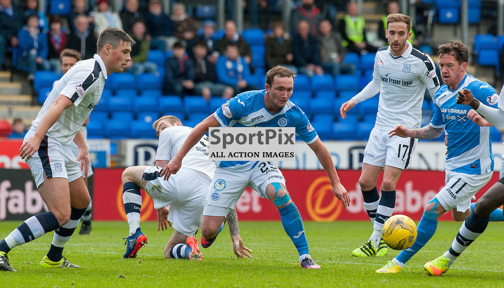 #25 Chris Kane and #11 Danny Swanson (St Johnstone) are foiled by the Dundee defe - St Johnstone v Dundee - Ladbrokes Premiership - 23 October 2016 - © Russel Hutcheson | SportPix.org.uk