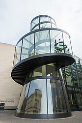 Exterior of glass stairwell at new extension the German History Museum by architect  IM Pei in Berlin, Germany