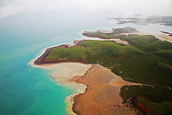 Wet season aerial view of Kingfisher Island on the Kimberley coast.