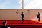 Wang Jinzhen (C), General Commissioner for China for Expo Milano 2015, speaks at the ceremony start of works of the Chinese Pavilion at Expo 2015, Rho-Pero, September 4, 2014. On the left, Giuseppe Sala, Managing Director and Sole Commissioner for Expo 2015; on the right the interpreter. &copy; Carlo Cerchioli<br /> <br /> Wang Jinzhen (centro), Commissario Generale per la Cina per Expo Milano 2015, parla alla cerimonia di apertura dei lavori del padiglione cinese a Expo 2015, Rho-Pero, 4 settembre 2014. A sinistra di spalle, Giuseppe Sala, amministratore delegato e commissario unico di Expo 2015; a destra l'interprete.