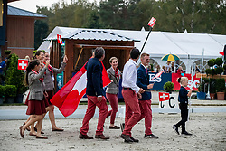 Team Switzerland, Godel Robin, Gonbfard Roxane, Realini Tiziana, Gerber Caroline, Guyot Camille, Vogg Felix<br /> European Championship Eventing<br /> Luhmuhlen 2019<br /> © Hippo Foto - Dirk Caremans