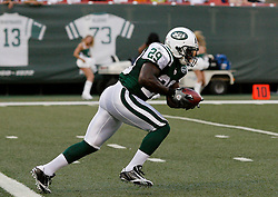 Aug 14, 2009; East Rutherford, NJ, USA;   New York Jets running back Leon Washington (29) returns a kick during the first half of their game against the St. Louis Rams at Giants Stadium.
