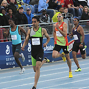 SANTOS, LUGUELIN - DRAKE RELAYS, 2013 - Luguelin Santos easily won the special 400 meters besting Jerimy Wariner.  Santos, only 19 years of age, ran a 44.74.  photo by David Peterson