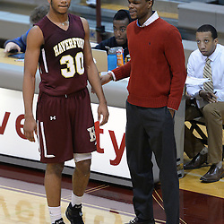 TOM KELLY IV - DAILY TIMES<br /> Haverford's Lamar Stevens (30) and head coach Henry Fairfax talk during the Episcopal Academy vs The Haverford School boys basketball game as part of the Daniel Dougherty tournament at Philadelphia University on Saturday, January 3, 2015.