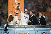 MIAMI GARDENS, FL - FEBRUARY 4:  Peyton Manning #18 of the Indianapolis Colts celebrates along with owner Jim Irsay and coach Tony Dungy following Super Bowl XLI against the Chicago Bears at Dolphin Stadium on February 4, 2007 in Miami Gardens, Florida. (Photo by Joe Robbins)