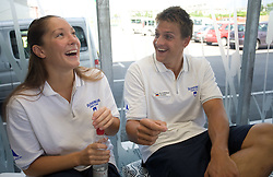 Anja Klinar and Jernej Godec at press conference of Slovenian swimmers before World Championships in Rome, on July 23 2009, in Kranj, Slovenia. (Photo by Vid Ponikvar / Sportida)