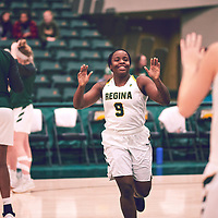 3rd year guard, Kyanna Giles (9) of the Regina Cougars `during the Women's Basketball Home Game on Fri Nov 30 at Centre for Kinesiology,Health and Sport. Credit: Arthur Ward/Arthur Images