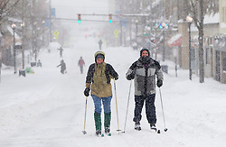 Saturday, Jan. 22, 2016: West Virginia University college students ski on High Street in Morgantown, W.Va. after Winter Storm Jonas ripped through North Central West Virginia and dumped nearly 18 inches of snow. (Photo by Ben Queen)