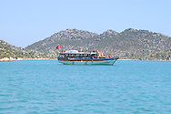 A tour boat in Kekova Bay<br /> south coast, Turkey<br /> c. Ellen Rooney
