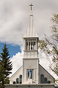 Immaculate Conception Parish church in Fairbanks, Alaska. The wooden church was built in 1904 by Father Francis Monroe, it was the first Roman Catholic Church erected in Alaska's interior.