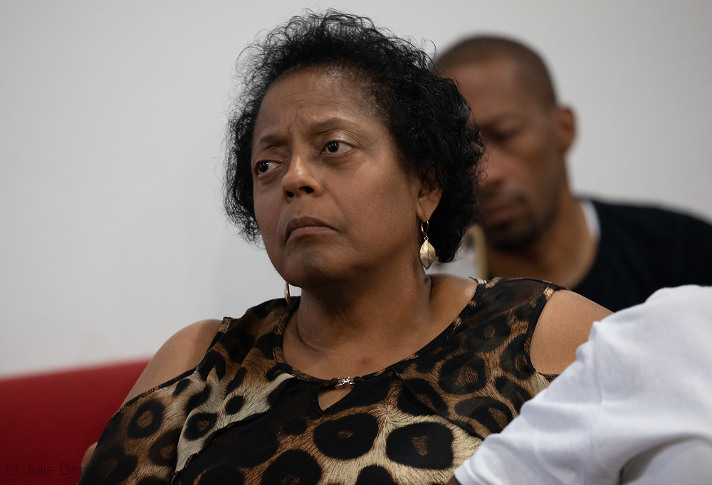 Sharon at a meeting on July 2 in Convent, in St. James Parish District 4 where WIlma Subra explained the crisis at the Mosiac Plant.