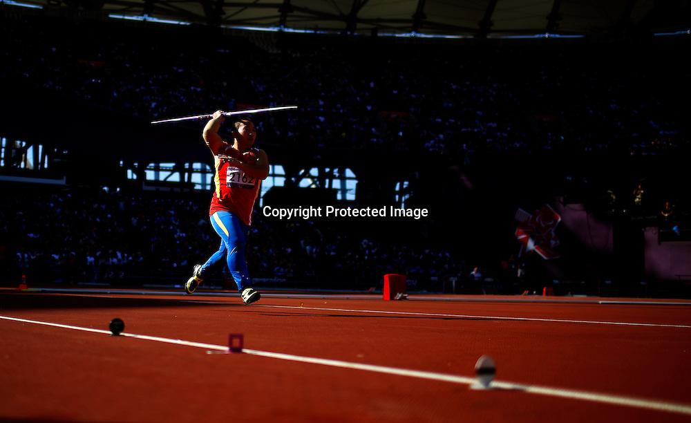 Zhiming Wang of China competes in Men's Javelin Throw F40 final at Olympic Stadium during the London 2012 Paralympic Games, London, Britain, 07 September 2012.  EPA/KERIM OKTEN