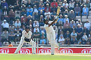 100 for Cheteshwar Pujara of India - Cheteshwar Pujara of India plays an attacking shot to reach his century during day two of the fourth SpecSavers International Test Match 2018 match between England and India at the Ageas Bowl, Southampton, United Kingdom on 31 August 2018.